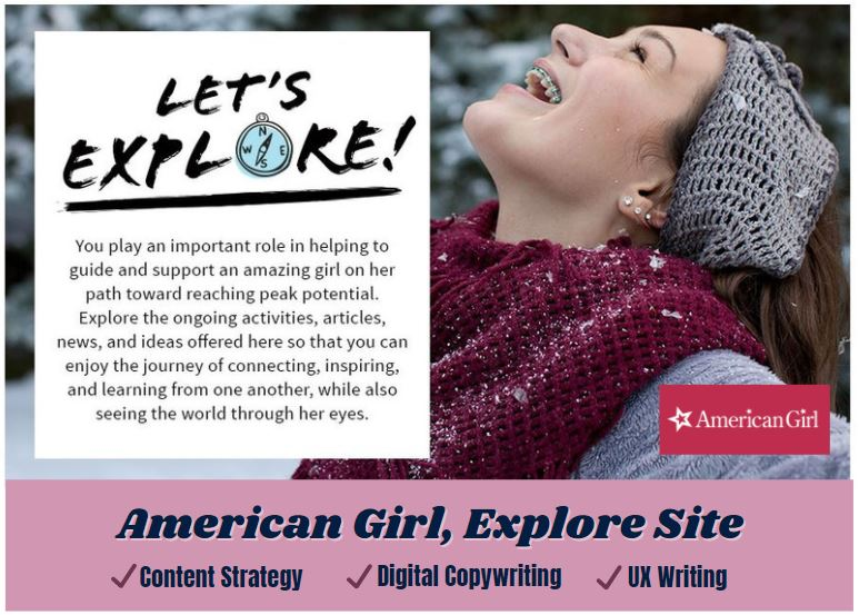 icon link to american girl explore site ux writing content strategy and digital copywriting samples from carrie anton