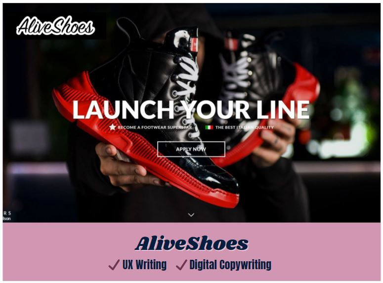 icon link to aliveshoes ux writing and digital copywriting samples from carrie anton