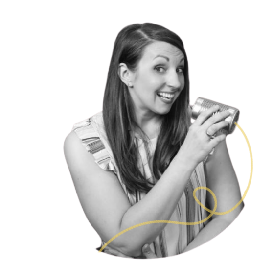 grayscale photo showing carrie anton talking into a soup-can phone with a yellow curled cord