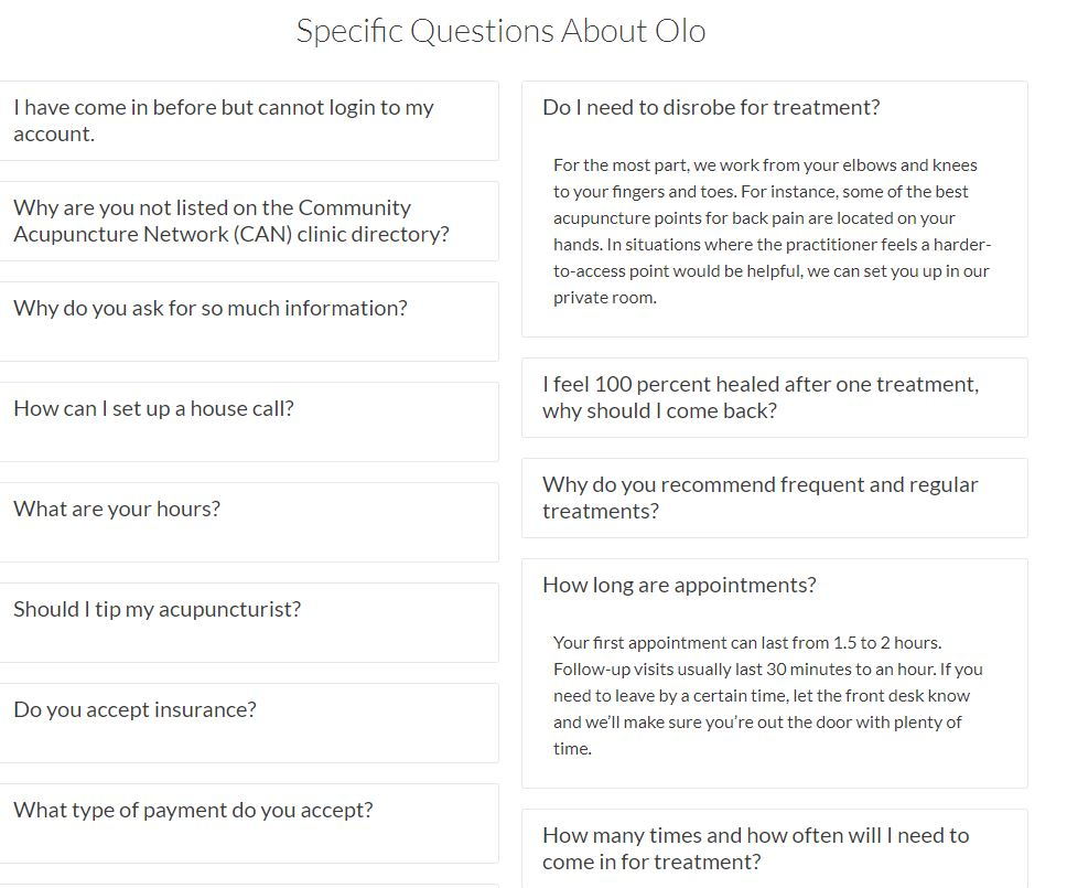 carrie anton digital writing sample of specific questions about olo acupuncture for faq section
