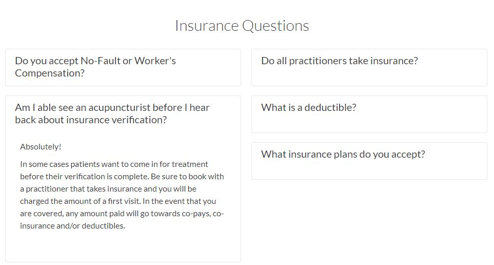 carrie anton digital writing sample of insurance questions for olo acupuncture's faq section