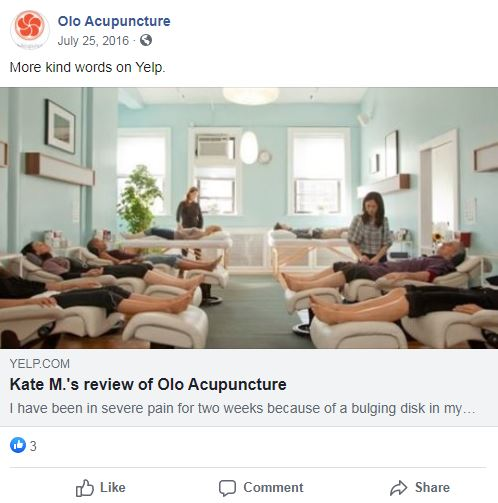 carrie anton's digital copywriting sample of a facebook post on yelp review of acupuncture
