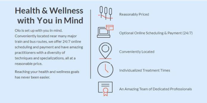 carrie anton microcopy ux writing sample for olo acupuncture about health and wellness with you in mind