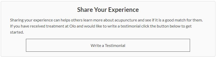carrie anton microcopy ux writing sample for olo acupuncture testimonial request