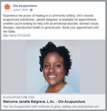 carrie anton's digital copywriting sample of a facebook post inroducing new olo acupuncture staff member