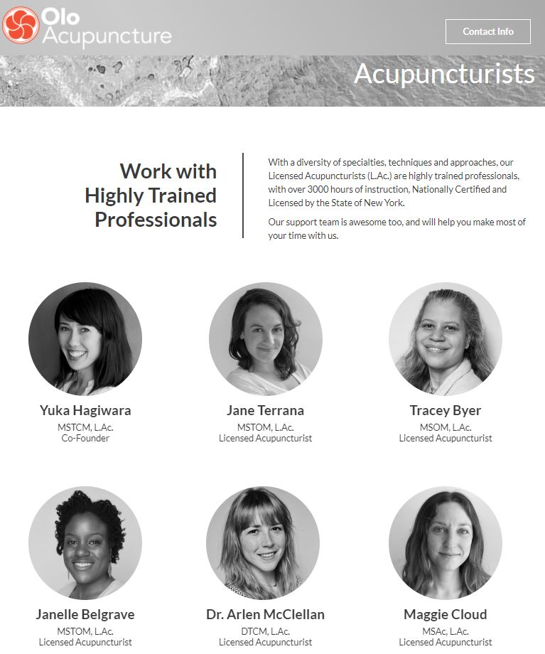 carrie anton digital copywriting sample of landing page olo acupuncture staff