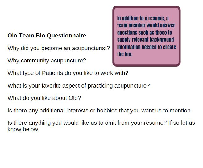 olo team bio questionnaire used by carrie anton for digital copywriting of staff bios for olo acupuncture website