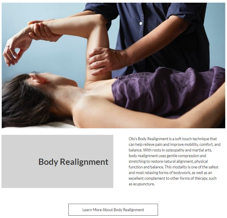 photo of a person holding the left arm of a woman lying down paired with digital copywriting description sample of olo acupuncture body realignment service written by carrie anton