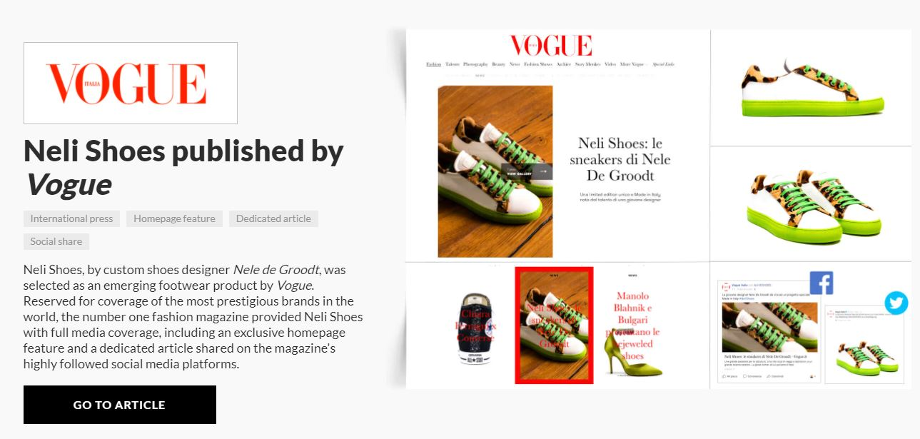 carrie anton digital copywriting press summary sample for aliveshoes featuring vogue magazine's feature of designer Neil Shoes' white sneakers with lime green sole and laces with leopard-print trim along the edges