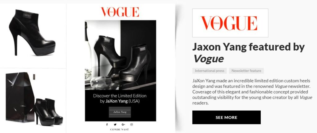 carrie anton digital copywriting press summary sample for aliveshoes featuring vogue magazine's newsletter feature of designer Jaxon Yang's black stiletto booties