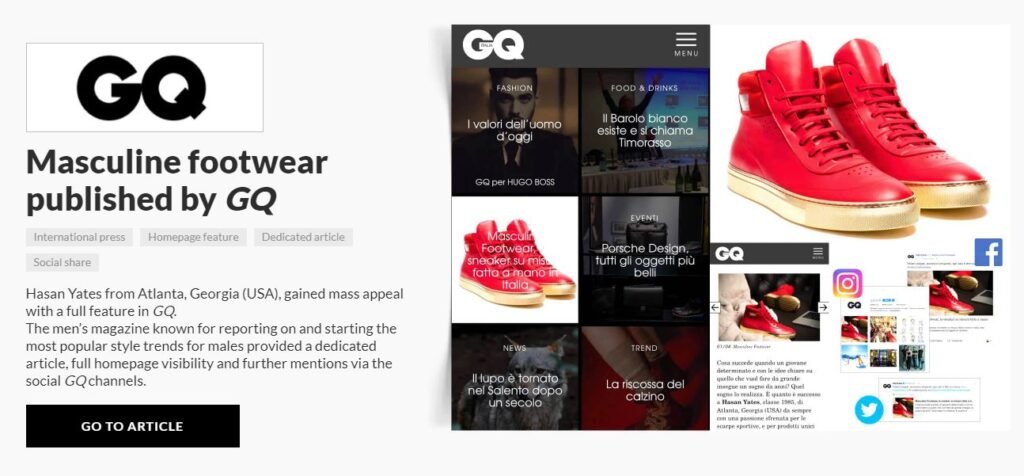 carrie anton digital copywriting press summary sample for aliveshoes featuring GQ magazine's feature of designer Hasan Yates' red high top speakers with gold bottoms