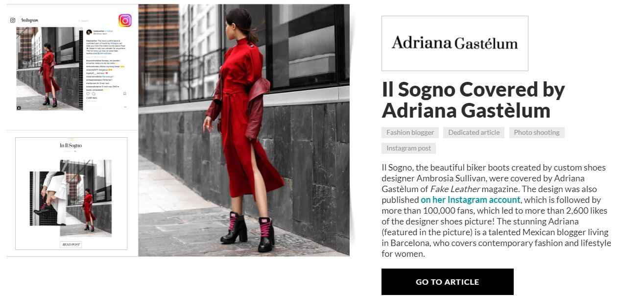 carrie anton digital copywriting press summary sample for aliveshoes featuring Amrbosia Sullivan coverage of Il Sogno biker boots by designer Adriana Gastelum for Fake Leather magazine