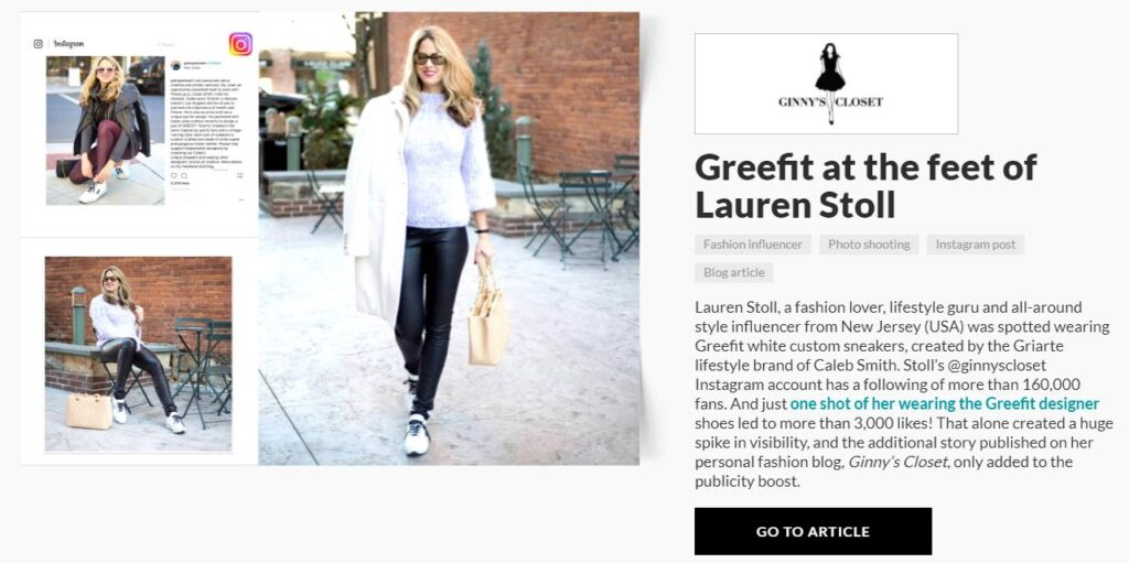 carrie anton digital copywriting press summary sample for aliveshoes featuring inflluencer Lauren Stoll wearing Greefit white custom sneakers by designer Ginny's Closet