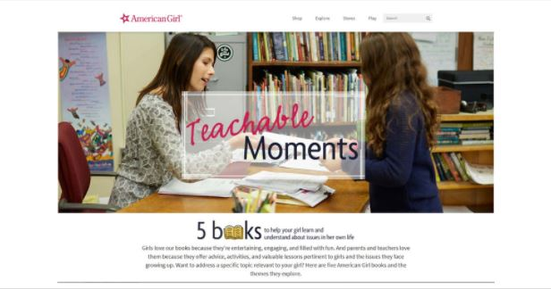 image for link leading to carrie anton digital copywriting sample for american girl site explore section titled teachable moments