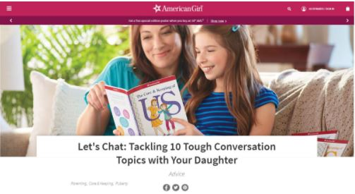 image for link leading to carrie anton digital copywriting sample for american girl site explore section titled let's chat: tackling 10 tough conversation topics with your daughter