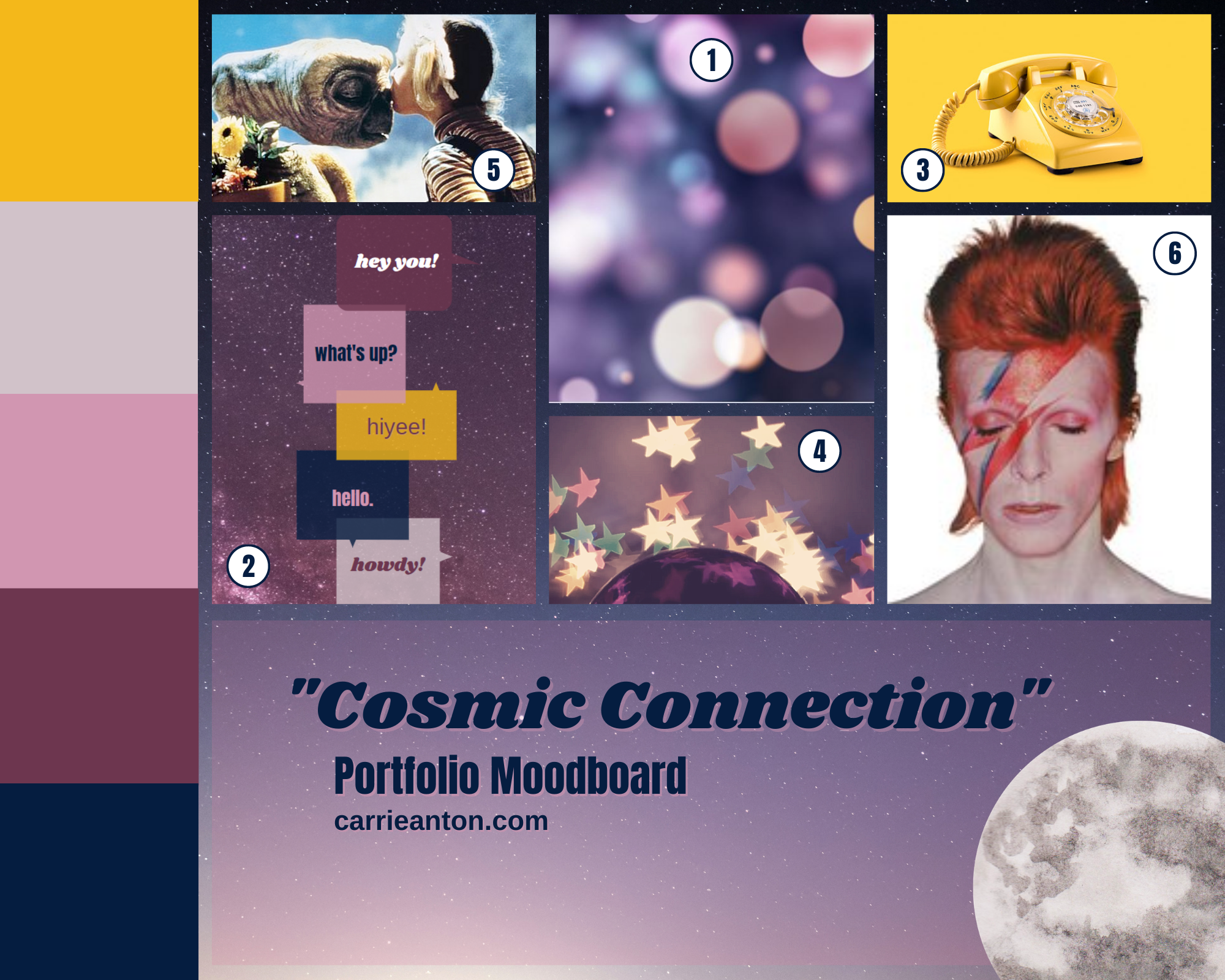 carrie anton cosmic connection portfolio moodboard design inspired by bokeh photo, speech bubbles, greetings, stars, constellations, vintage telephone, david bowie, E.T. movie with gertite and drew barrymore